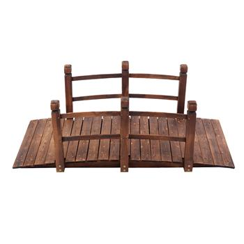 Arch Bridge Small Wooden Bridge Courtyard Outdoor Anticorrosive Wood Landscape Bridge Carbonization Color