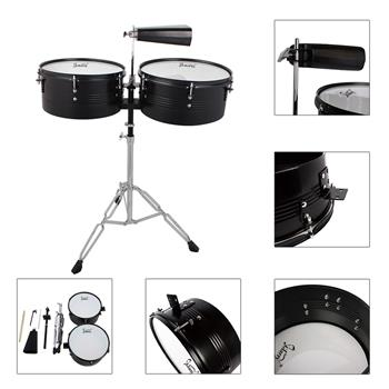"""Glarry Percussion 13"""" & 14"""" Timbales Drum Set with Stand and Cowbell Black"""