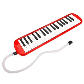 Glarry 37-Key Melodica with Mouthpiece & Hose & Bag Red