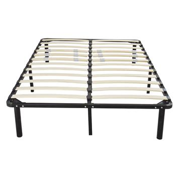 79*59*14 Wooden Bed Slat and Metal Iron Stand Queen Size Iron Bed Black