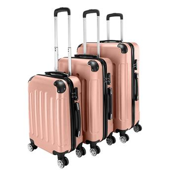 """3-in-1 Portable ABS Trolley Case 20"""" / 24"""" / 28"""" Rose Gold"""