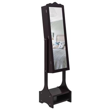 Non Full Mirror Wooden Floor Standing 3-Layer Shelf With Inner Mirror 2 Drawers 17 Cosmetic Brush Holders With Panel 95 Warm Led Lamp With Jewelry Sto