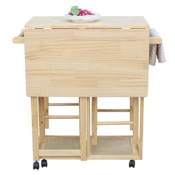 FCH Square Solid Wood Folding Dining Cart with 2 Free Stools Natural