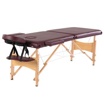 "84"" 2 Sections Folding Portable Beech Leg Beauty Massage Table 60CM Wide Adjustable Height Wine Red"