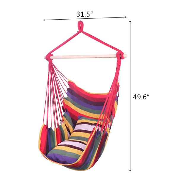 Distinctive Cotton Canvas Hanging Rope Chair with Pillows Rainbow