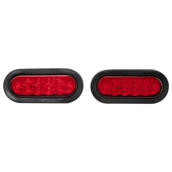 Pair of LED Waterproof Red Trailer Boat Rectangle Stud Stop Turn Tail Lights