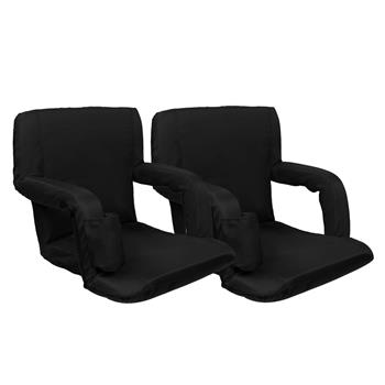 "2pcs 21"" Stadium Seat Cushion Stand Chair Black Simple Model"