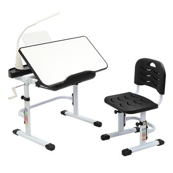 80CM Hand-cranked Lifting Top Can Tilt Children Learning Table And Chair Black (With Reading Stand   USB Interface Desk Lamp)