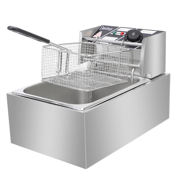 ZOKOP EH81 2500W MAX 110V 6.3QT/6L Stainless Steel Single Cylinder Electric Fryer US Plug