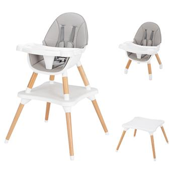 Children's High Dining Chair Detachable Two-In-One Table And Chair Gray