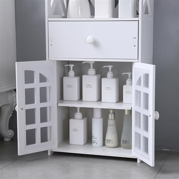 Double Door Compartment With Drawer Shelf 90cm High Pvc (41x25x90)cm