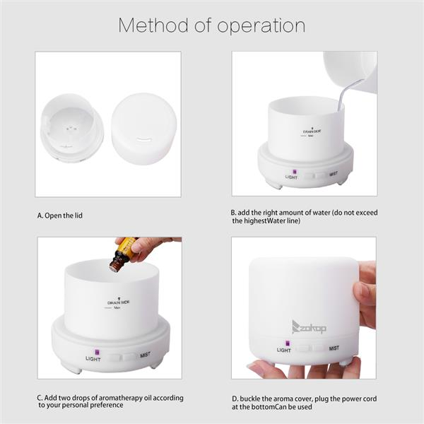 2358YK USB 5V 120ML Color Cycling Aroma Diffuser with Black Controller US Plug