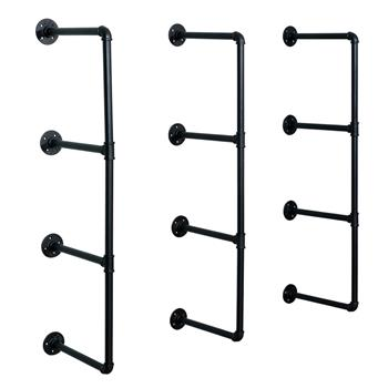 "42"" Tall Industrial Wall Mount Iron Pipe Shelf Shelves Shelving Bracket Vintage Retro Black DIY Open Bookshelf (3 Pcs 4Tier Hardware Only)"