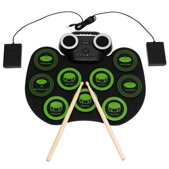 Portable Electric Drum Set 9 Full-Tone Standard Drum Pads with Drum Stick, Headphone Jack and Pedals Multiple Power Supply Methods Best Gift for Chris