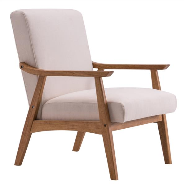 (67x72.5x82cm) Solid Wood Retro Simple Single Sofa Chair Backrest without Buckle Beige