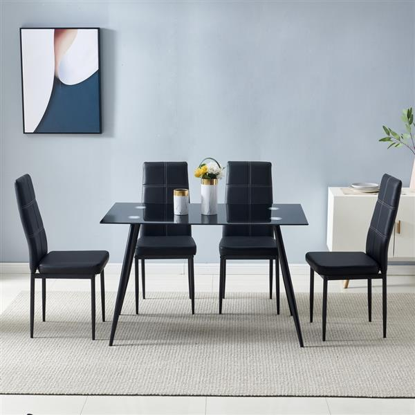 120*70*75cm Glass Dining Table Black