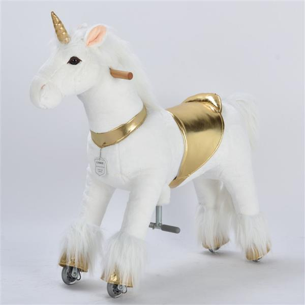UFREE Medium 36'' Ride-on Unicorn for Children 4-9 Years Old. (White Unicorn with Golden Horn) (DO NOT SELL ON AMAZON) (DISCOUNT ON BULK PURCHASE)