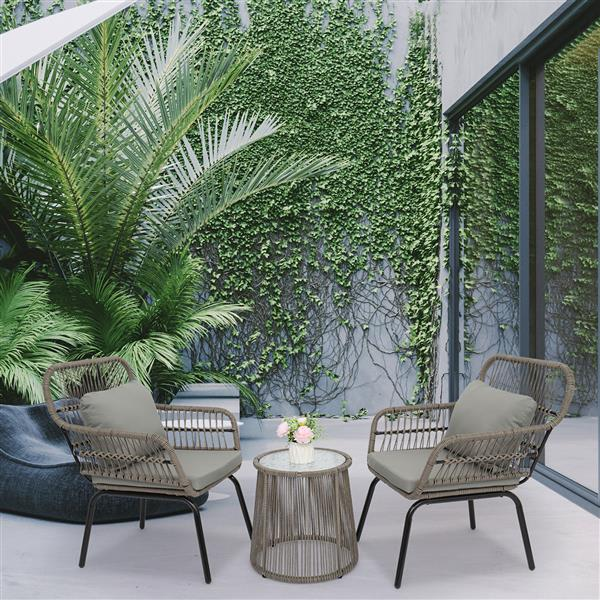 3-Piece Patio Wicker Conversation Bistro Set with 2 Chairs & Glass Top Side Table & Cushions Gray
