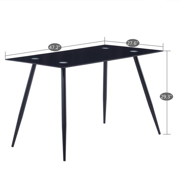 120*70*75cm Glass Dining Table Black (only table)