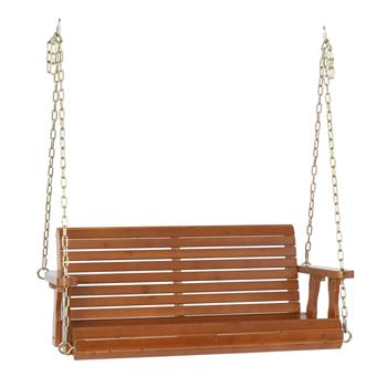 4ft Cedar With Iron Chain 500lbs Double Wooden Swing Dark Brown