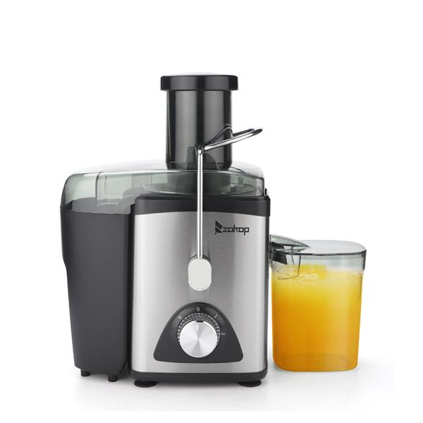 ZOKOP American Standard ALW-J03 120V 600W 75MM Large Caliber 600ML Juice Cup 1000ML Slag Cup Third Gear Electric Juicer Stainless Steel Black