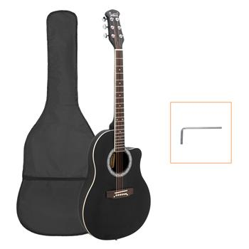 Glarry GT101 41 inch Acoustic Guitar Spruce Top Cutaway Round Voice Hole Round Back Black
