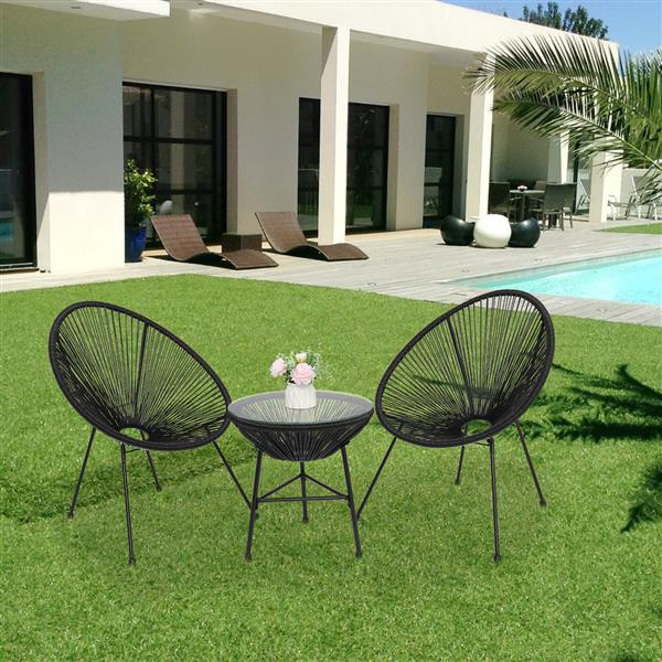 3-Piece All-Weather Patio Acapulco Bistro Furniture Set with 2 Chairs & Glass Top Table Black