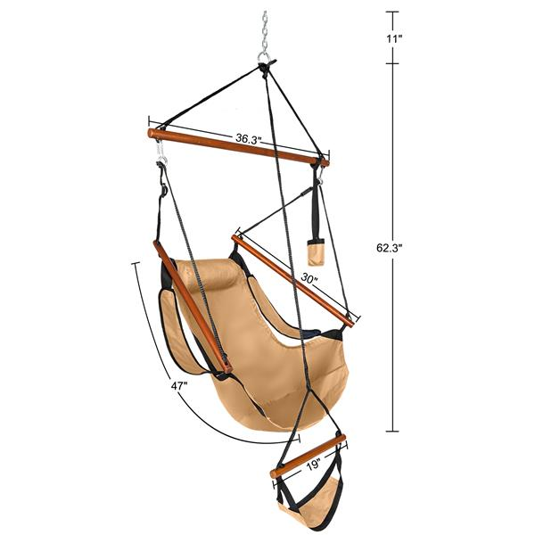 Oxford Cloth Hardwood With Cup Holder Wooden Stick Perforated 100kg Seaside Courtyard Oxford Cloth Hanging Chair   Brown