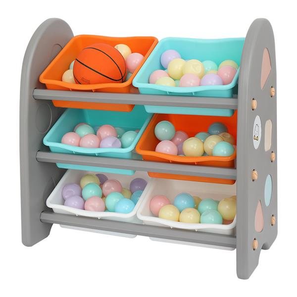 Wooden Kids' Toy Storage Organizer with 6 Plastic Bins,Gray Color