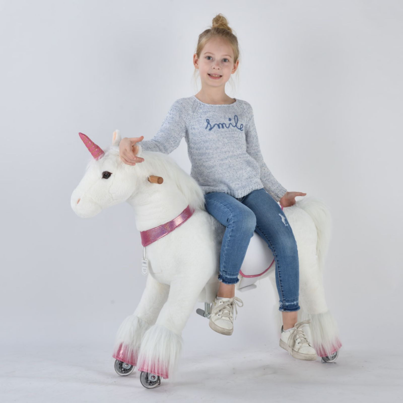 UFREE Medium 36'' Ride-on Unicorn for Children 4-9 Years Old. (White Unicorn with Pink Horn)