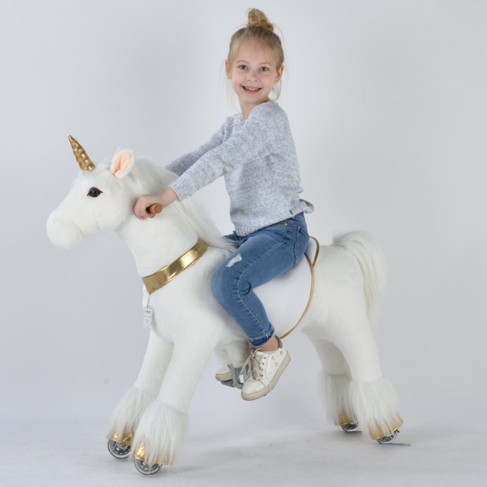 UFREE Medium 36'' Ride-on Unicorn for Children 4-9 Years Old. (White Unicorn with Golden Horn)