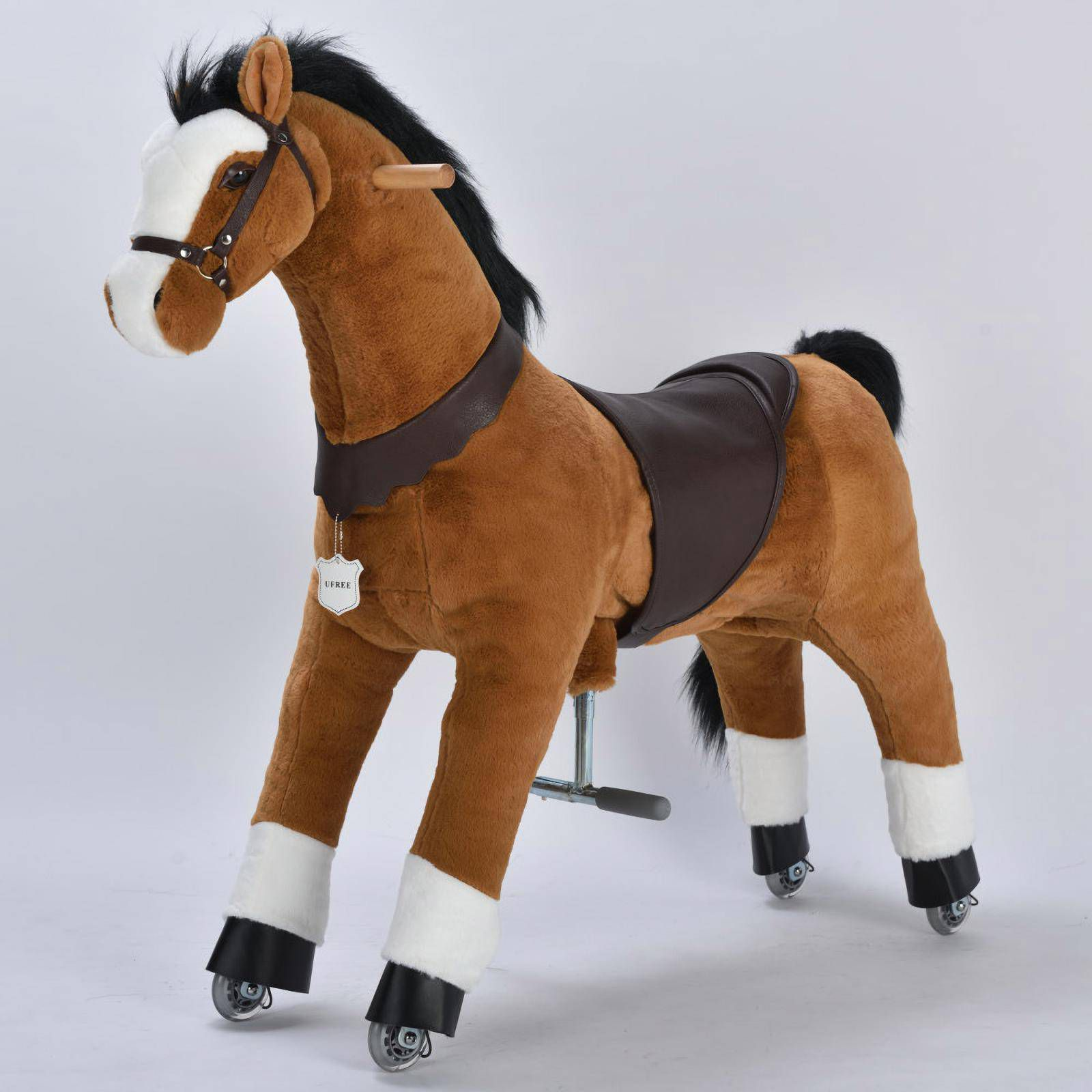 UFREE Large 44'' Ride-on Horse for Children 6 Years Old to Adult. (Black Mane and Tail)