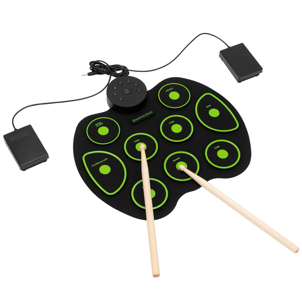 9 Pads Electronic Drum Set Portable Drum Bluetooth Practice Drum Pad,  Drum Kit with Built-in Dual Speakers and Headphone Jack for Beginner and Childr