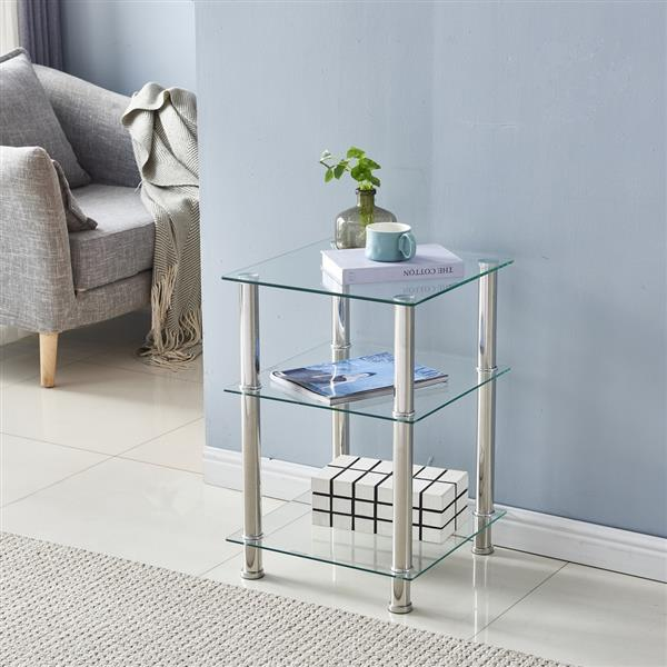 42*42*61cm Three-layer Tempered Glass Stainless Steel Tube Square Side Table