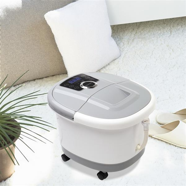 Foot Spa Foot Bath Massager with Touch Screen Digital Display Frequency Conversion 300/400/500W, Automatic Roller, Stress Relief for Tired Feet 110V Gray