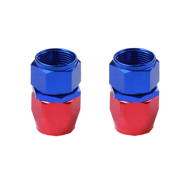 2pcs Universal AN-10 Straight Swivel Hoses Ends Red & Blue