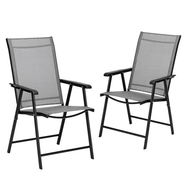 2-Pack Patio Textilene Folding Chairs Portable for Outdoor Camping, Beach, Deck Dining Chair with Armrest, Patio Textilene Chairs Set of 2, Gray
