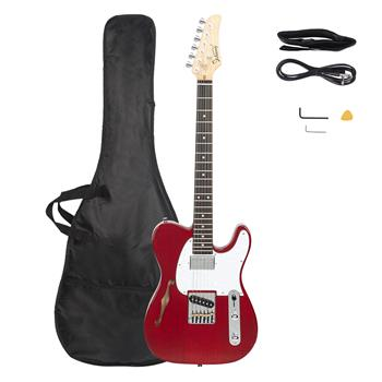Glarry GTL Semi-Hollow Electric Guitar F Hole HS Pickups Rosewood Fingerboard White Pearl Pickguard Transparent Wine Red