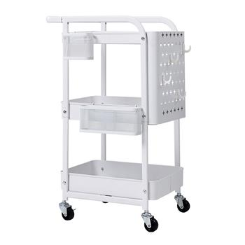 3-Tier Rolling Cart with Peg board Hooks Baskets White