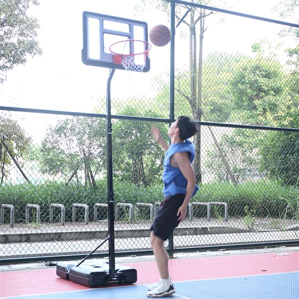 Portable Removable Basketball System Basketball Hoop Teenager PVC Transparent Backboard with Adjustable Height 7ft - 8.5ft