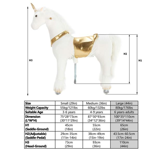 UFREE Large 44'' Ride-on Unicorn for Children 6 Years Old to Adult. (White Unicorn with Golden Horn) (DO NOT SELL ON AMAZON) (DISCOUNT ON BULK PURCHASE)