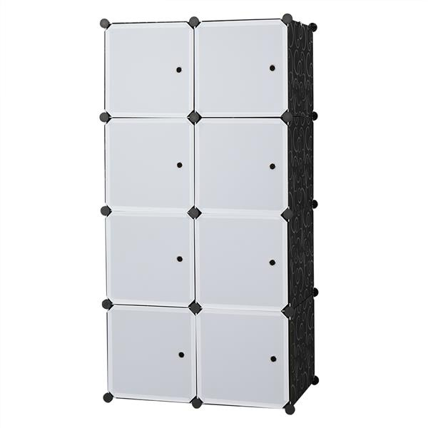 8 Cube Organizer Stackable Plastic Cube Storage Shelves Design Multifunctional Modular Closet Cabinet with Hanging Rod White Doors and Black Panels