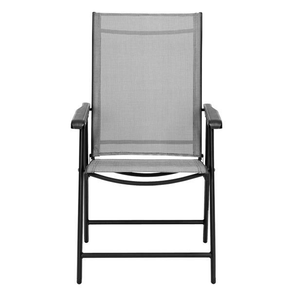 4-Pack Patio Folding Chairs Portable for Outdoor Camping, Beach, Deck Dining Chair with Armrest, Patio Textilene Chairs Set of 4, Gray