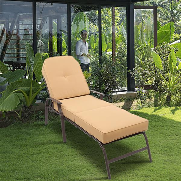 Adjustable Outdoor Steel Patio Chaise Lounge Chair with 5 Positions, UV-Resistant Cushions Beige
