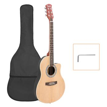 Glarry GT101 41 inch Acoustic Guitar Spruce Top Cutaway Round Voice Hole Round Back Burlywood