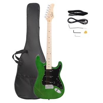 Glarry GST Ⅱ Upgrade Electric Guitar with Wilkinson Pickup , Daddario String, Canadian Maple Fingerboards, Bone Nut Green