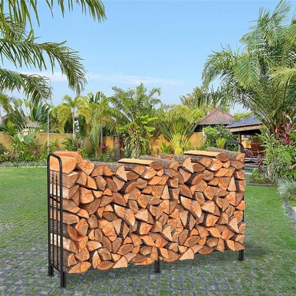 Artisasset Black Paint Single Layer 6 Feet Long 44 Inches High With Arrow Style Indoor And Outdoor Wrought Iron Fireplace Firewood Stand