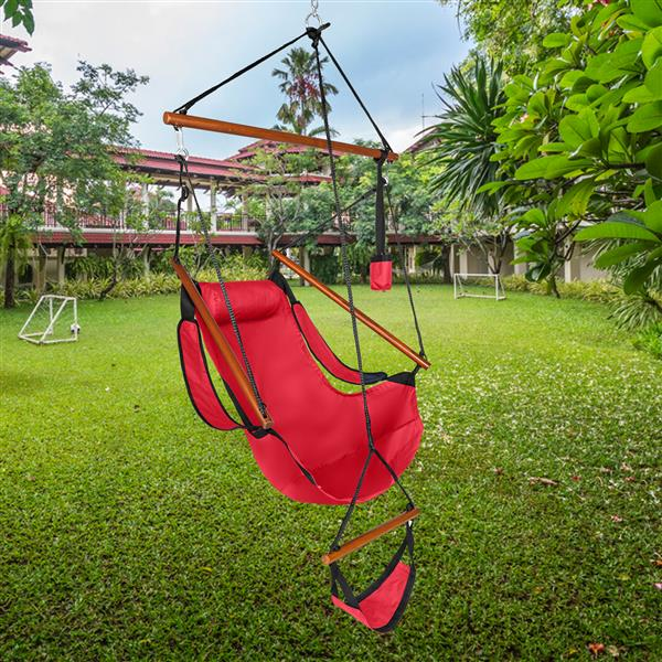 Oxford Cloth Hardwood With Cup Holder Wooden Stick Perforated 100kg Seaside Courtyard Oxford Cloth Hanging Chair   Red