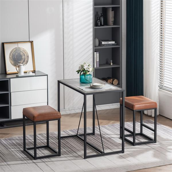 3 Piece Dining Table Set, Dining Set for 2, Table and 2 PU Stools, Black Oak Color & Brown