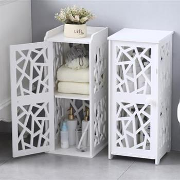 PVC Furniture, Bathroom Shelf, Geometric Pattern, Layered Structure Up and Down, Double Doors 【28*28*120cm】